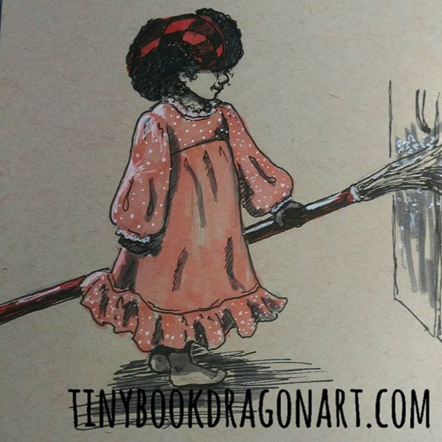 Colorized so you get the full on toddler logic: hat and nightgown now sweep the fridge. :) @tracilouwho #art #ink #prismacolor #toddler #toddlerlogic #toddlerfashion #illustration #child #play #magicalchildhood  #blickartmaterials