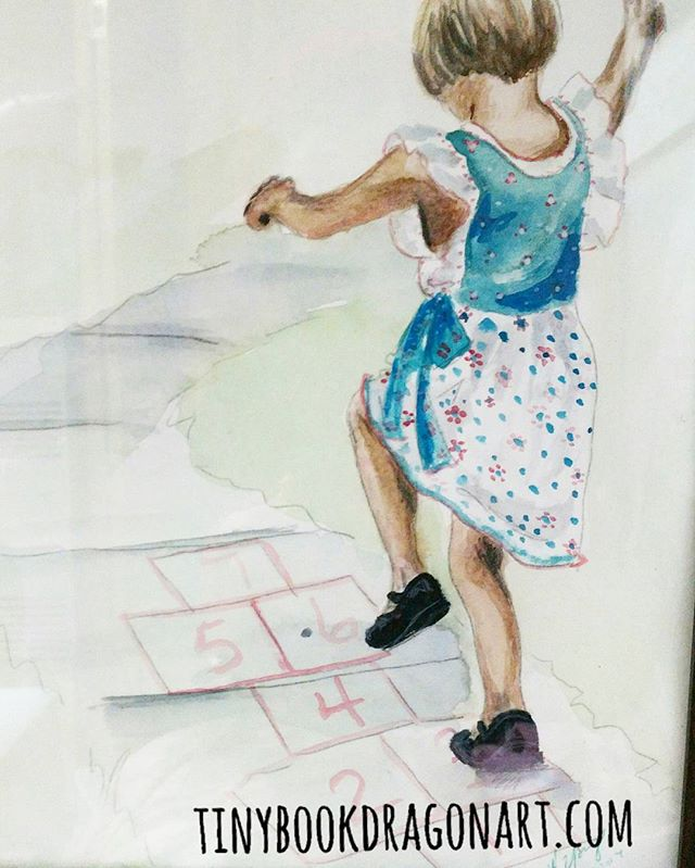 Hopscotch. .Working on a huge private commission so here is an old Watercolor from 11years ago of my youngest daughter. At the time she was a constant blur in photos but she was fun to paint.. #Watercolor #hop #hopscotch #painting #oldart #child #play #magicalchildhood #childhoodunplugged #kidlitart