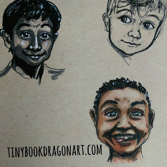 Playing with #expressions and #lighting . And remembered after first two that I have the #copic skintone marker set. So played with that two. I am not nearly as comfortable with #marker as with Watercolor..#grin #joy #shy #sketchbook #sketches #pride #ink #prismacolor #drawingpractice #dailysketch #drawing #art #kidlitart #children