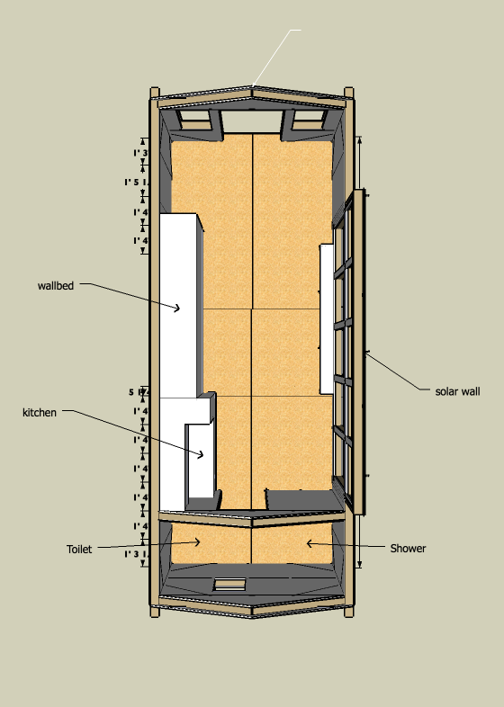 8x20 tiny solar house view from above