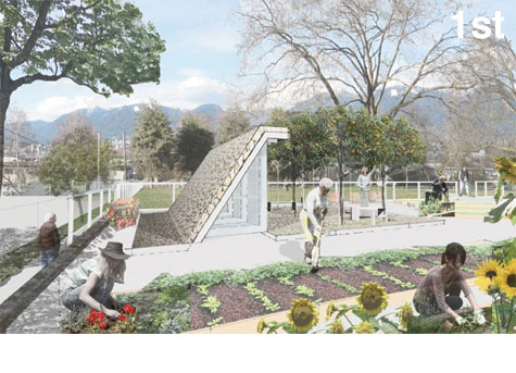Green shed design competition winners for Community garden designs