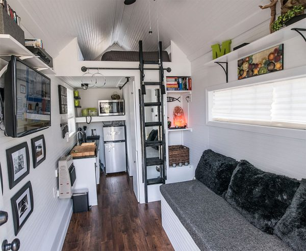 Tiny Houses Contemporary Interior Ladder to Bedroom Loft Gray Living Room Couch