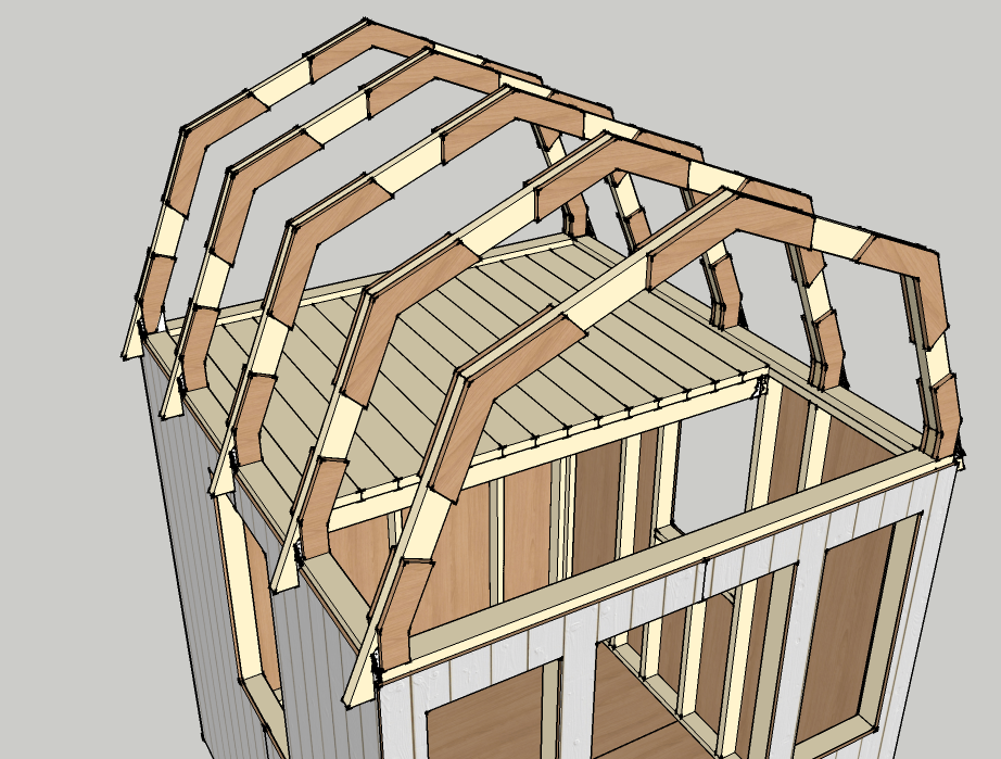 How to draw a gambrel roof in sketchup for Small gambrel house plans