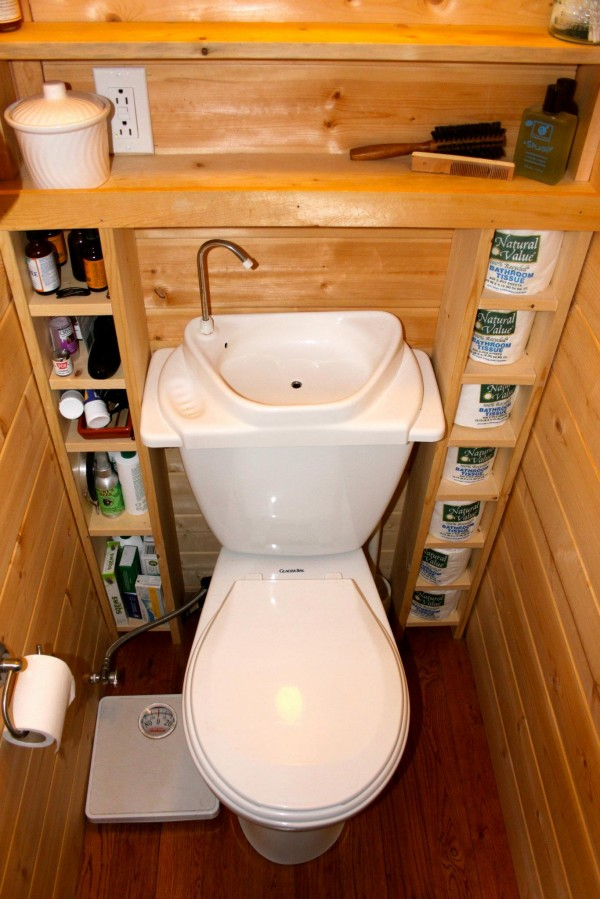 toilet in the moschata rolling bungalow see more tiny house bathroom designs on pinterest