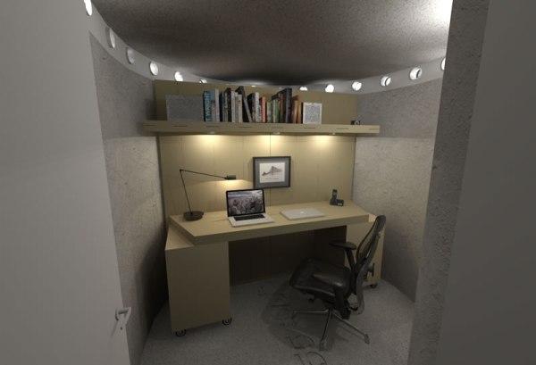 Spiral Shelter - Interior Office 1