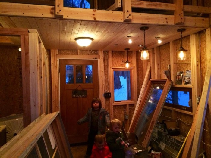 Family Builds Off-Grid Lakeside Cabin Near Columbus, Ohio - kids helping out