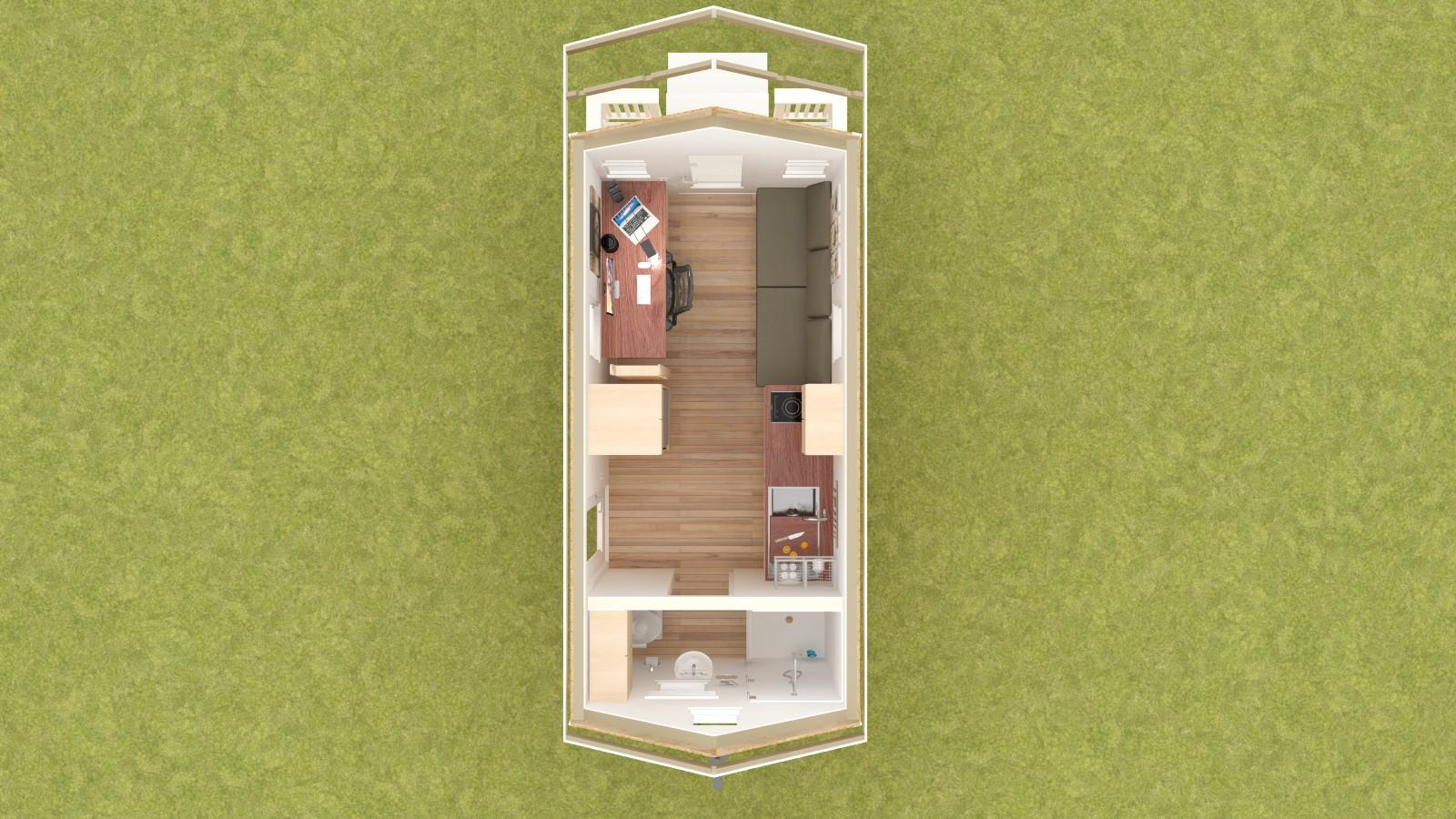 Calpella 18 Tiny House Floor Plan Lower Level