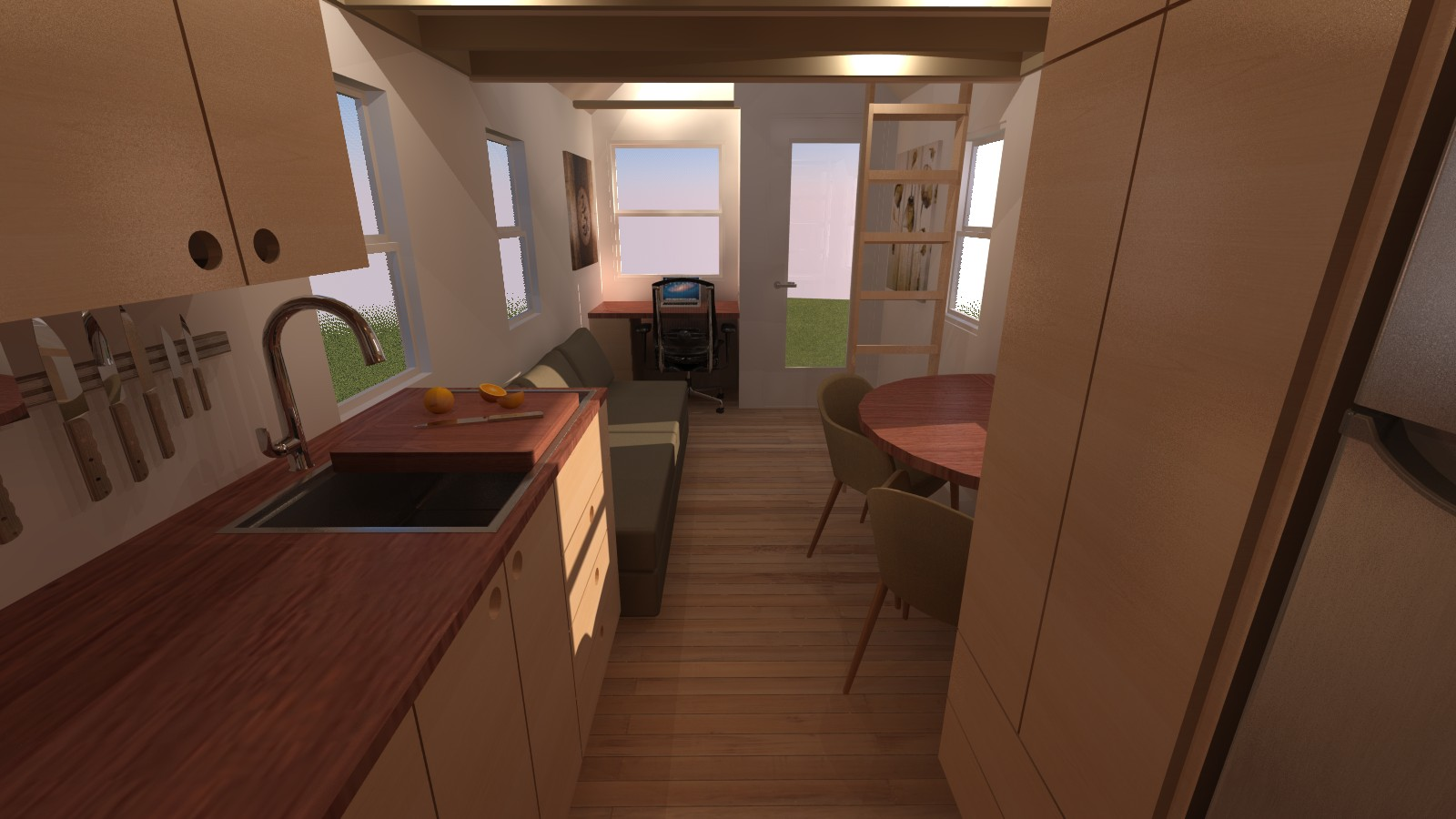 Caspar 20 Tiny House Interior from Back
