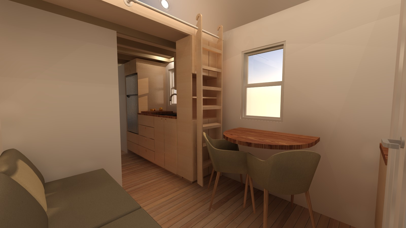 Little River 24 Tiny House Interior Living Dining
