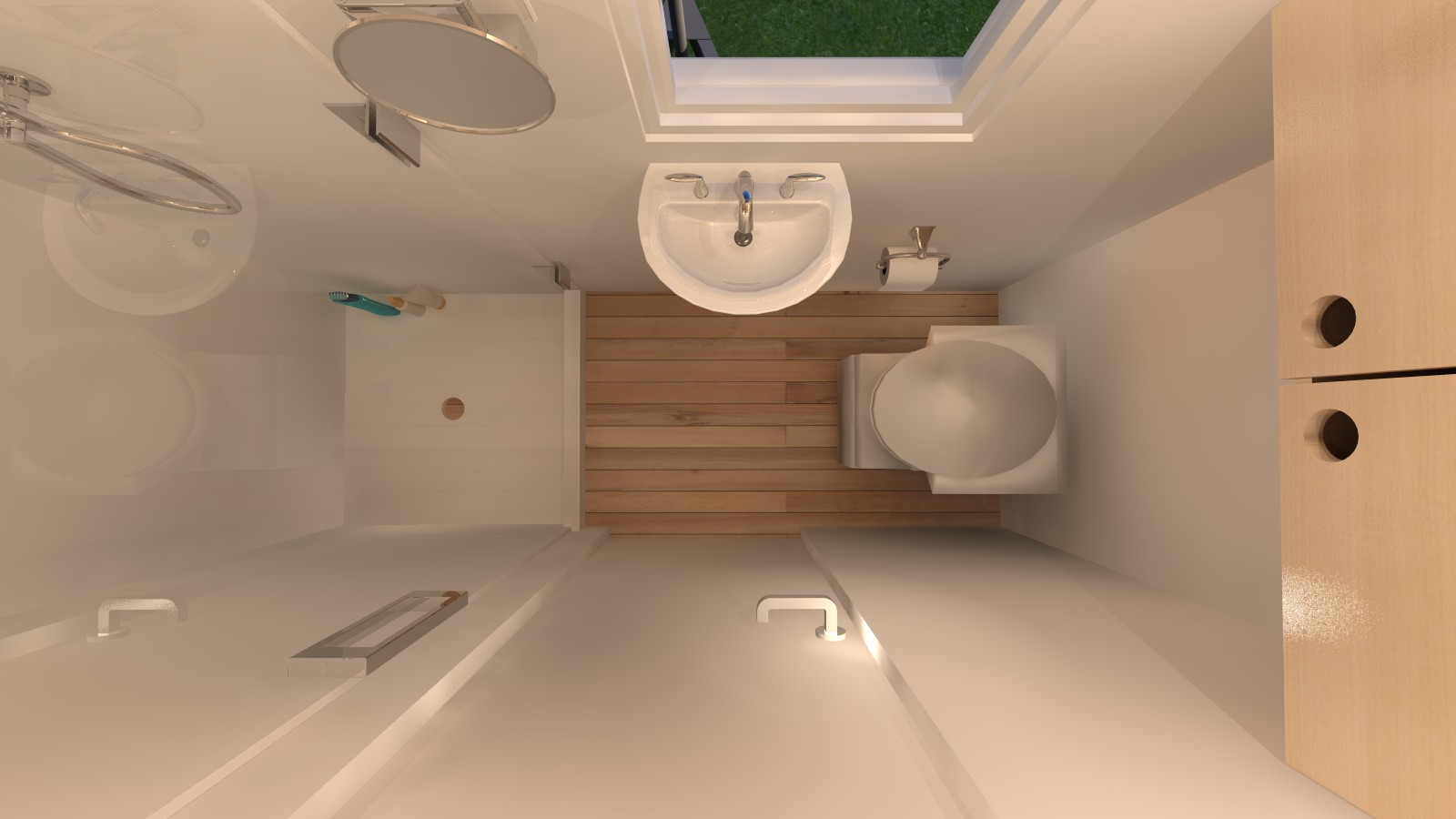 Manchester 14 tiny house plans for Small and long bathroom designs