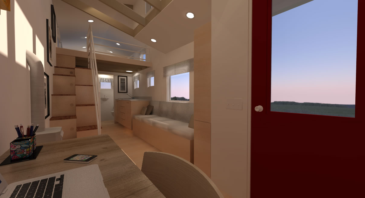 Potter Valley Tiny House Interior from Desk