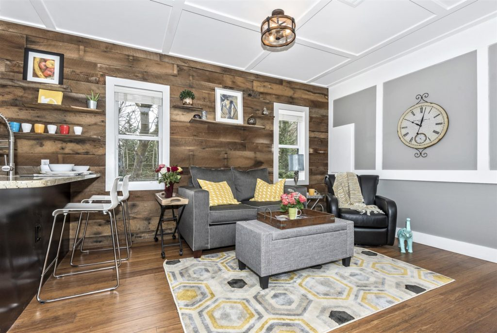 Dreamwood by Humble Houses - Living Room with Barnwood Wall