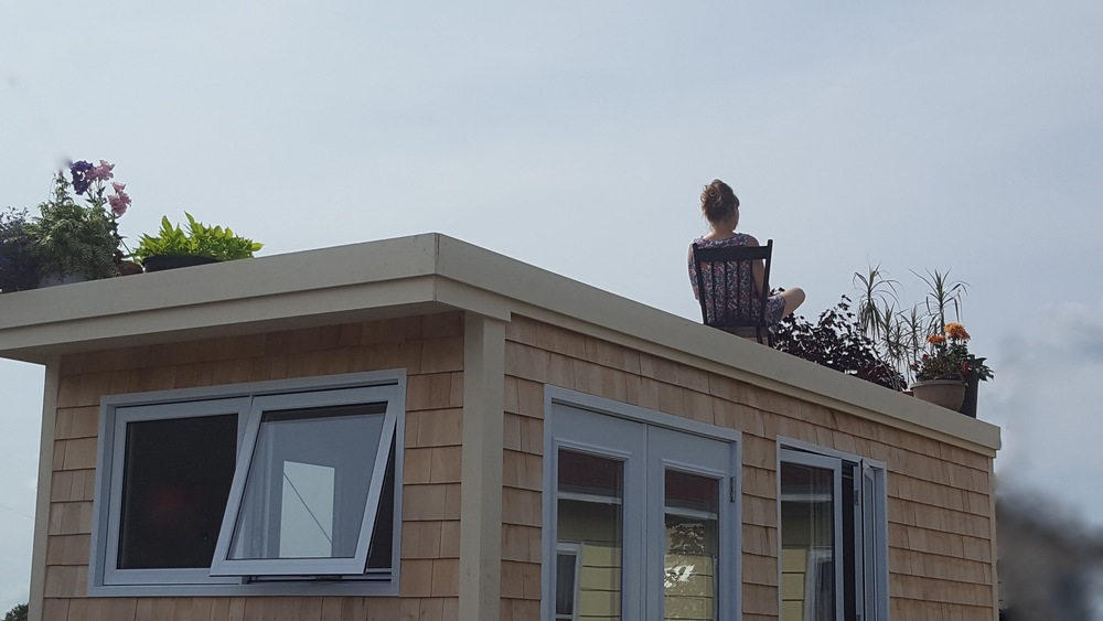 Space for Studio Sanctuary Office - Full Moon Tiny Shelters - roof deck in use