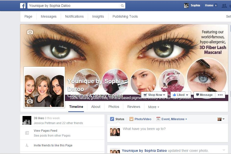 Facebook business page for Younique Presenter