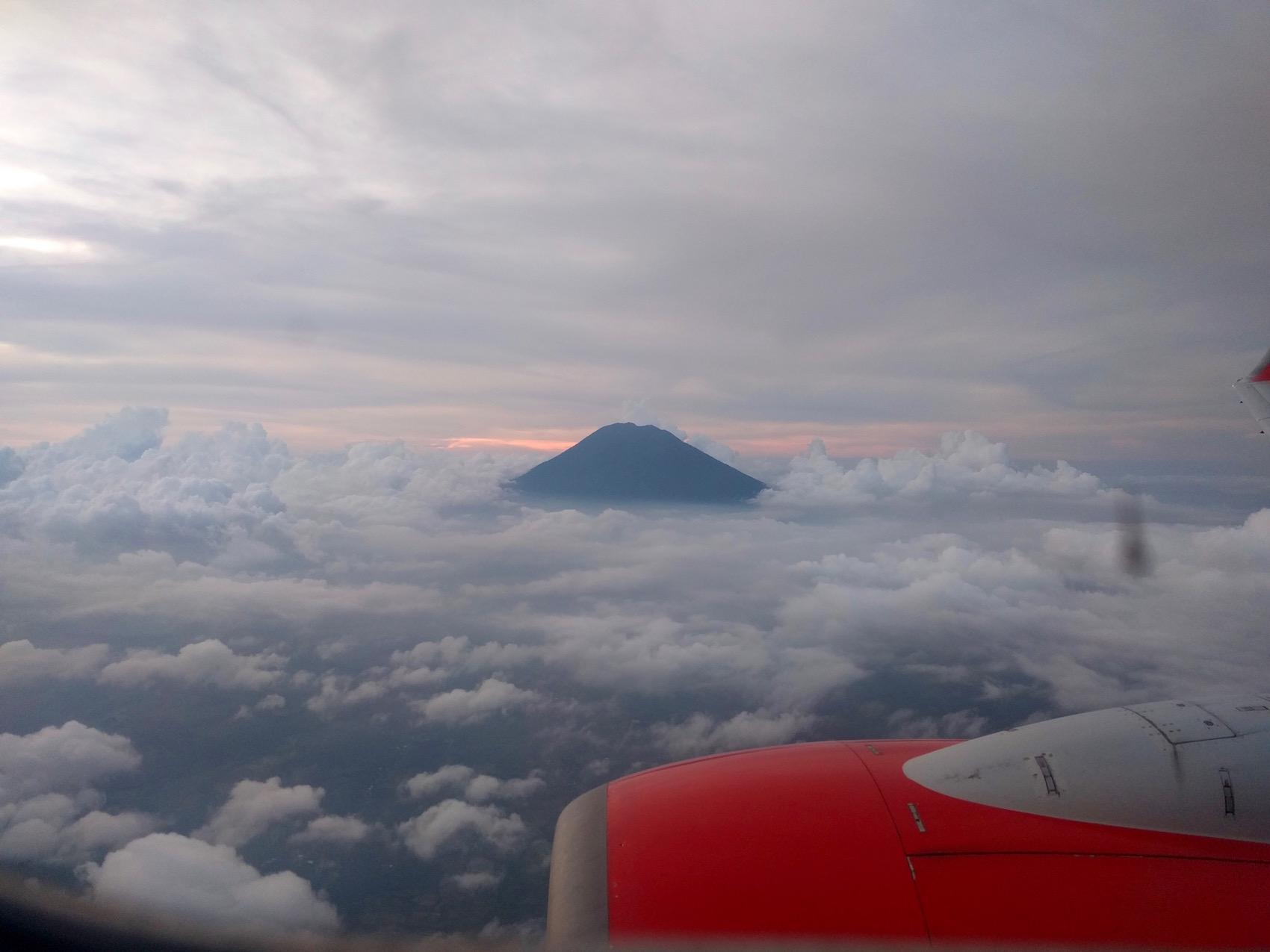 mount rinjani lombok from air