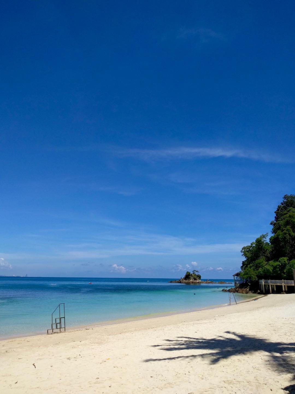 Our beach view from Kapas Coral Beach Chalet on Pulau Kapas
