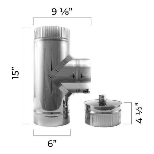 4 inch insulated tee and cap with dimensions