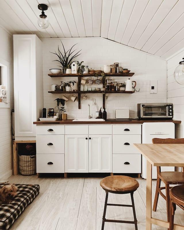 Interior before tiny wood stove.