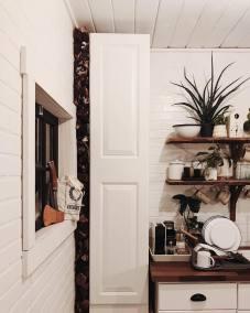 Creative wood storage nook.