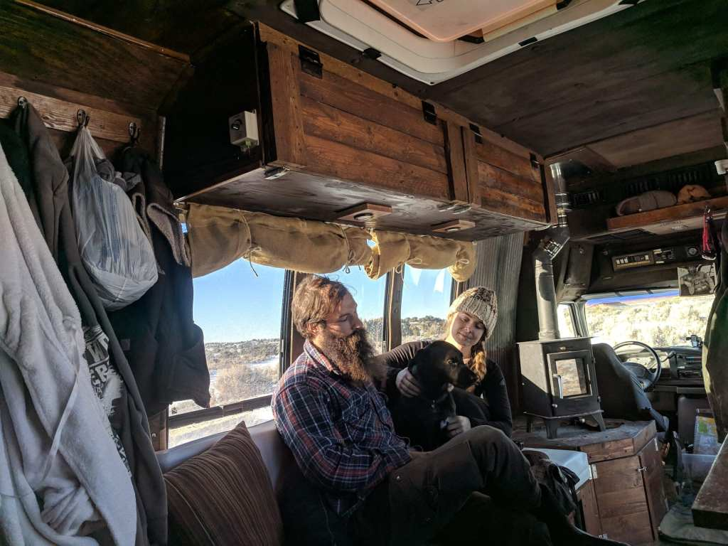 Shuttle Bus Interior with Dwarf 4kW Wood Stove