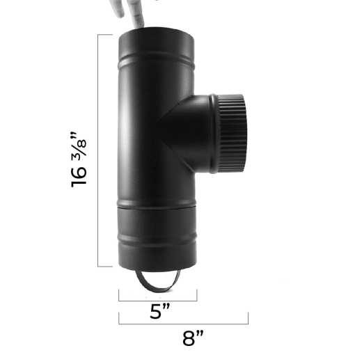 "5"" Rear Exit Tee Assembled Measurements"