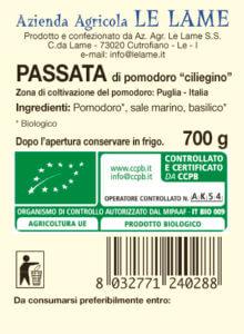 passata di pomodoro ciliegino DEMETER - etichetta
