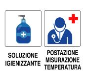 Cartello per cantiere (gel igienizzante e misurazione temperatura)