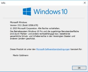 So sieht winver die Windows-Version 10