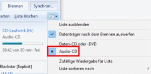 CD-Typ einstellen