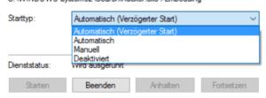 Windows Search endgültig abschalten mit dem Eintrag Deaktiviert