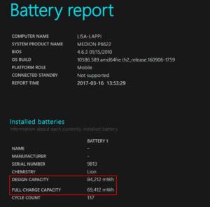Battery Report von Windows