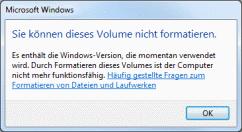 Win7 kann Laufwerk C nicht formatieren