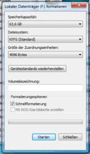 Formatierungs-Dialogfenster in Windows 7