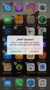 Warnung vor dem Löschen einer iPhone App