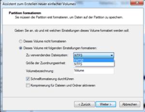 Festplatte mit FAT32 formatieren