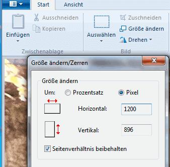 Option zum Skalieren eines Bildes in Windows Paint