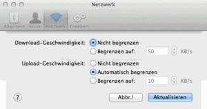 Übertragungsrate auf dem Mac wählen