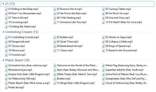 Dateien gruppiert nach Album