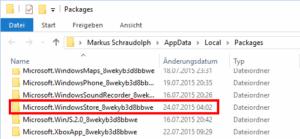 Windows Store Cache finden
