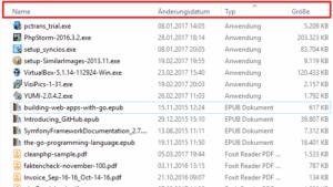 Die Detailansicht im Windows-Explorer