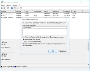 Festplatte initialisieren in Datenträgerverwaltung