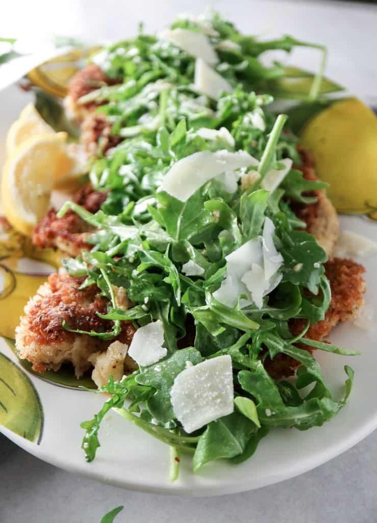 Panko Crusted Chicken with Arugula Salad