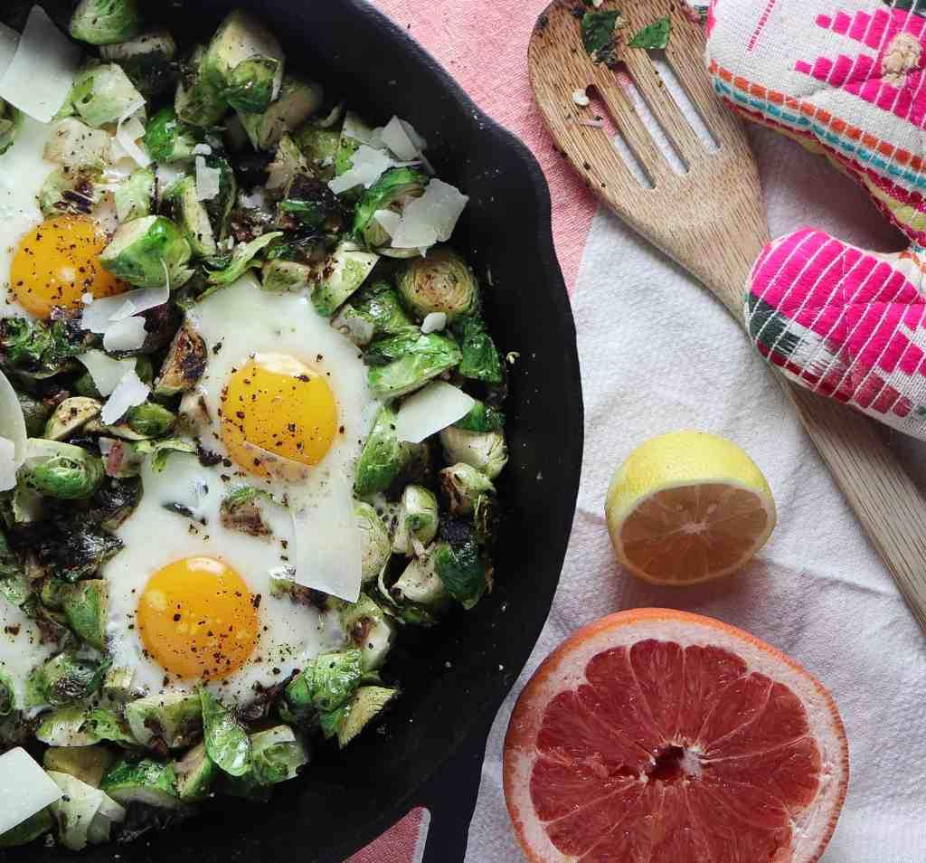 Lemon Parmesan Brussels Sprouts & Egg Skillet