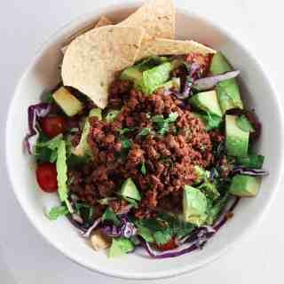 Beef Taco Salad with Cholula Lime Dressing