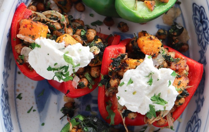 Manchego Roasted Butternut Squash and Chickpea Stuffed Peppers