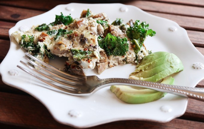 Sausage, Mushroom, and Kale Egg White Frittata