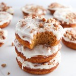 Pumpkin Doughnuts with Cream Cheese Pecan Frosting