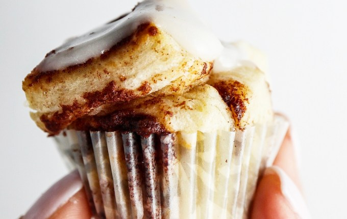 Mini Cinnamon Roll Muffin Bites
