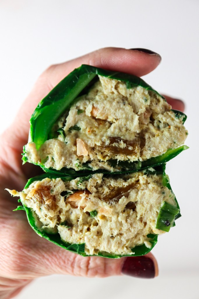 Curry Chicken Salad Collard Wraps