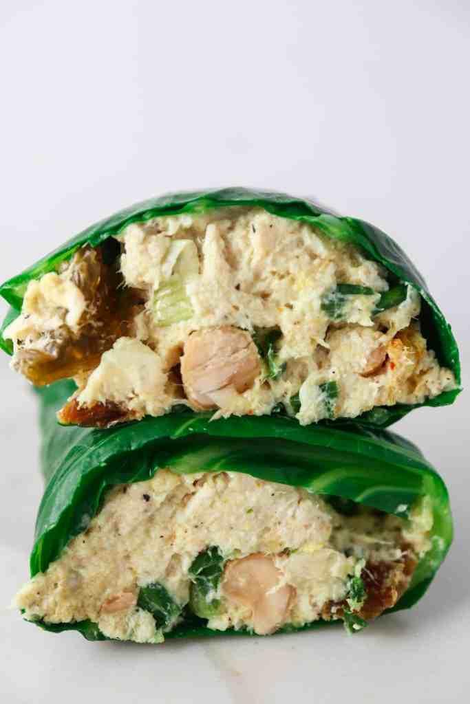 Curry Chicken Salad Collard Wraps